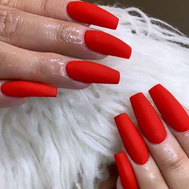 Vivid Matte Red Nails