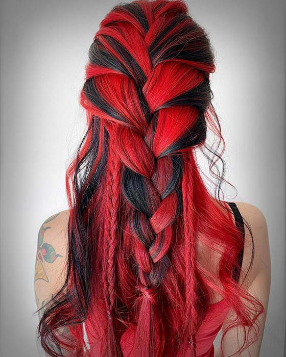 Vivid Red and Black Hair Idea