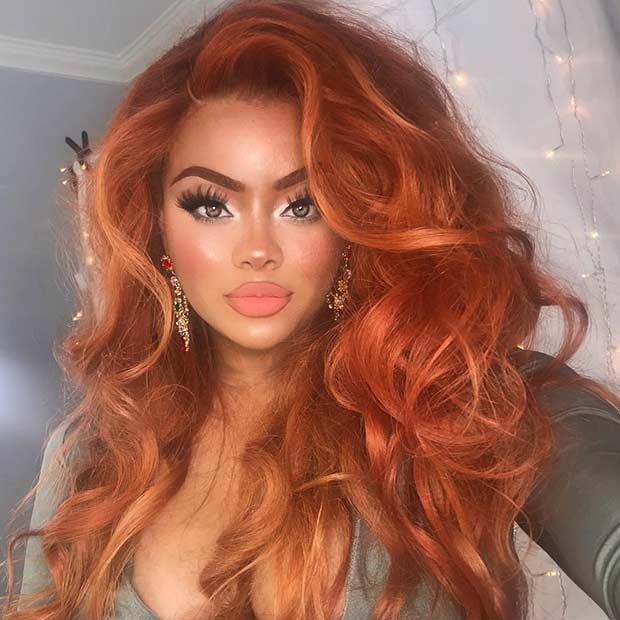 Voluminous Orange Hair Color