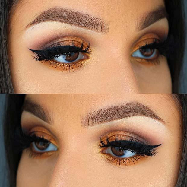 Warm Orange Eye Makeup with Bold Eyeliner