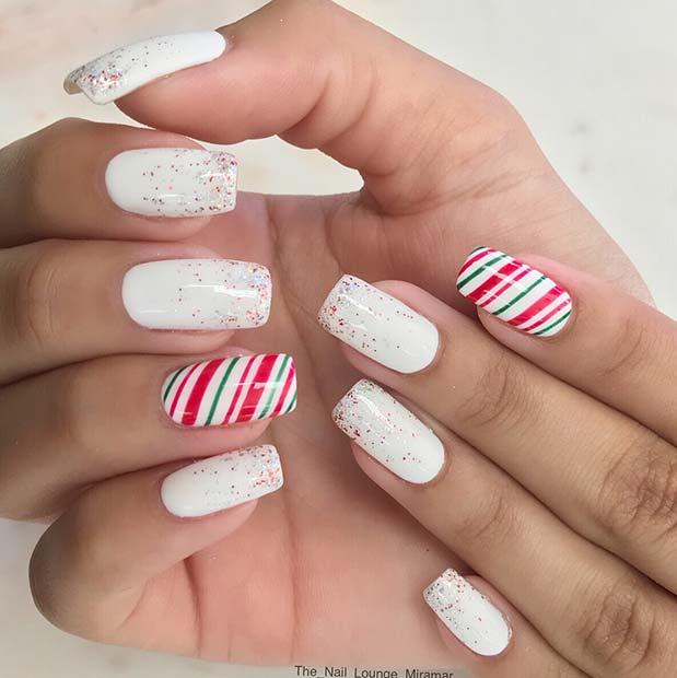 White Glitter Nails with Festive Stripe Accent Nails