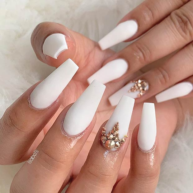 White Matte Coffin Nails with Gold Studs