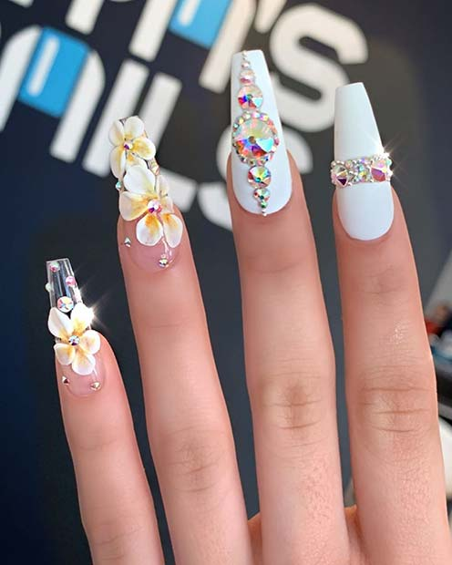 White Nails with Beautiful 3D Flowers