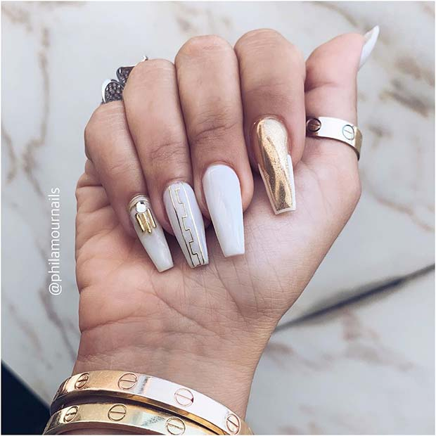 White Nails with Gold Chrome and Gold Nail Art