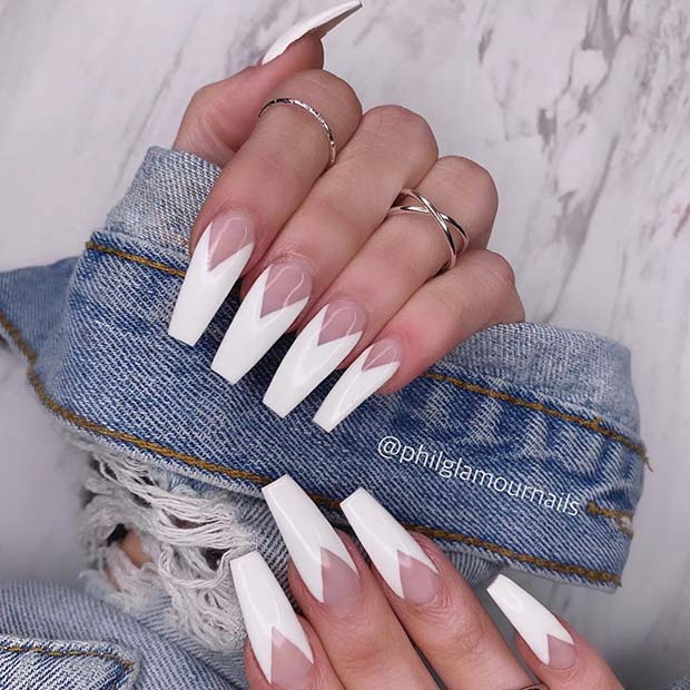 White V Tips Nail Design