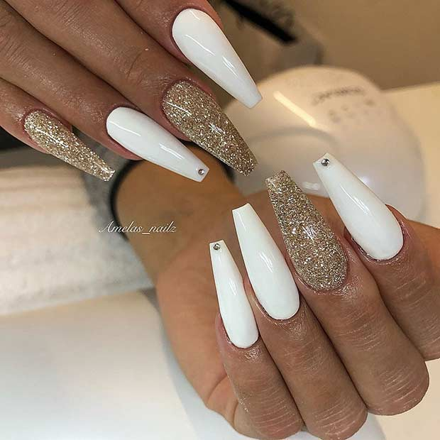 White and Gold Glitter Coffin Nails