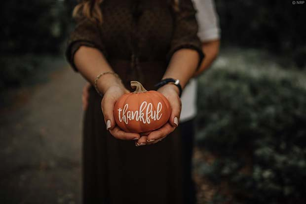 Beautiful Photo Announcement with Thankful Pumpkin