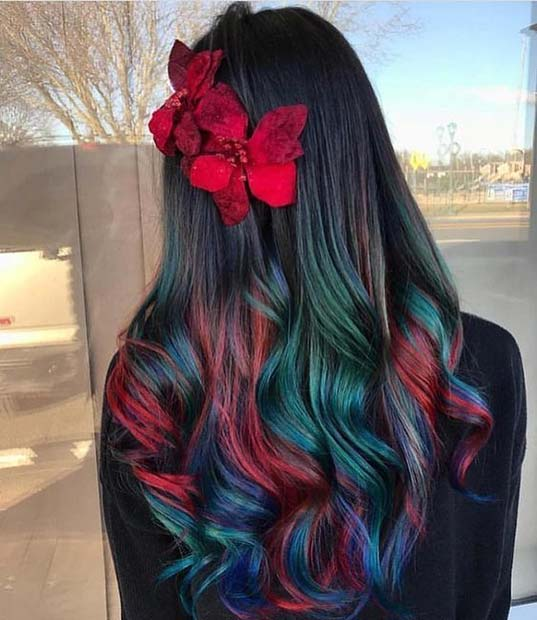 Black Hair With Christmassy Highlights