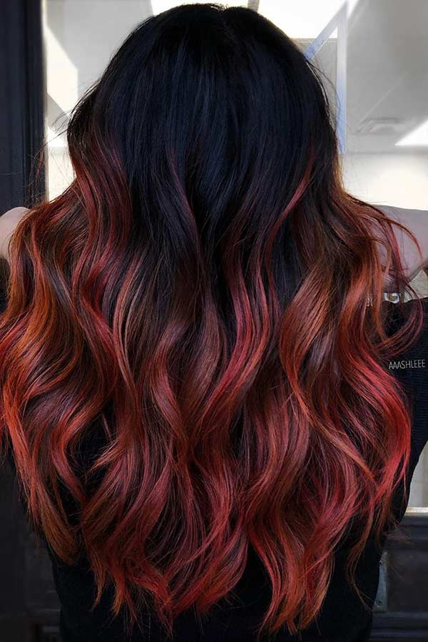 Black to Fiery Red Ombre Hair