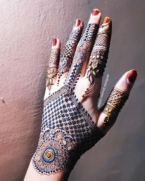 Blue Henna Hand Idea