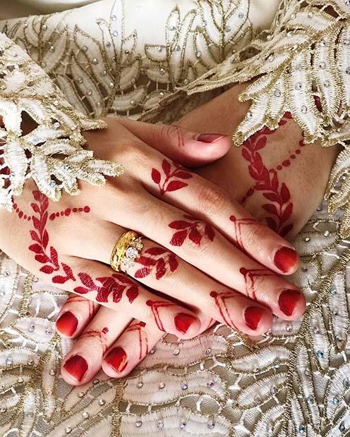 Bold Red Henna Tattoo Design