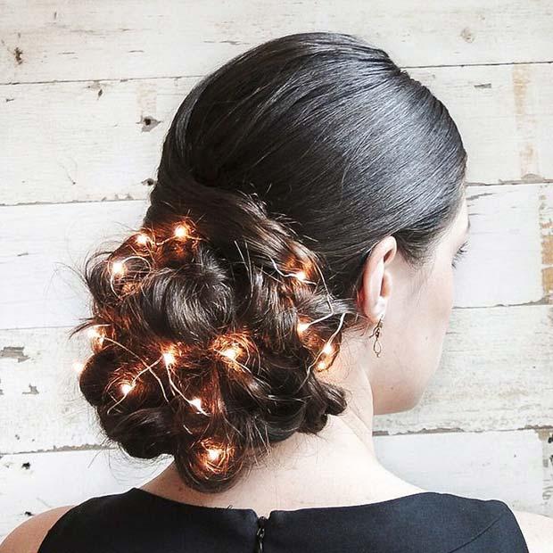 Braided Bun with Fairy Lights