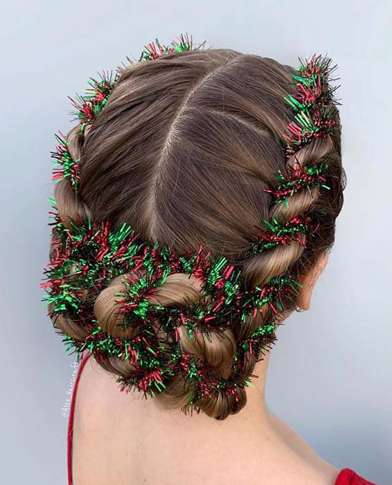 Braided Updo with Tinsel