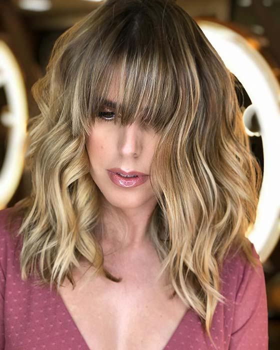 Brown Hair with Blonde Highlights and Bangs