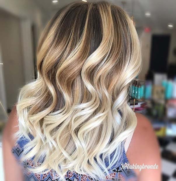 Brown Hair with Golden and Platinum Blonde Color