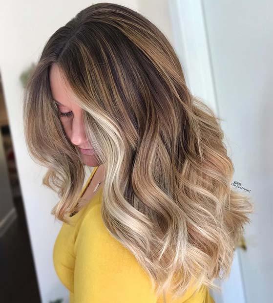 Caramel and Light Blonde Hair