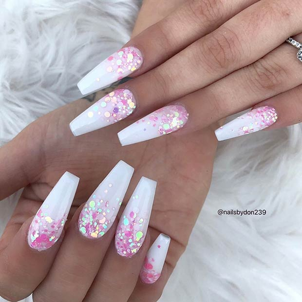 Coffin Nails with Pink Sequins