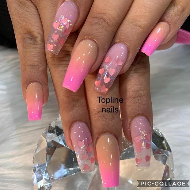 Cute Clear Acrylic Nails with Hearts