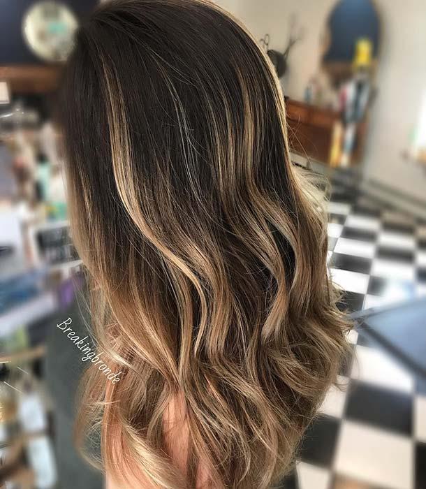 Dark Brown Hair with Multi Blonde Highlights