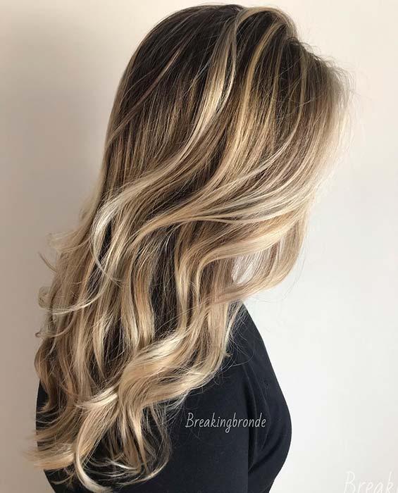 Dark Brown Hair with Sandy Blonde Highlights