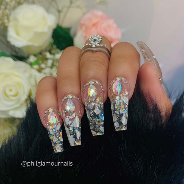 Clear Acrylic Nails with Rhinestones