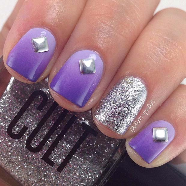 Short Purple Nails with Silver Glitter