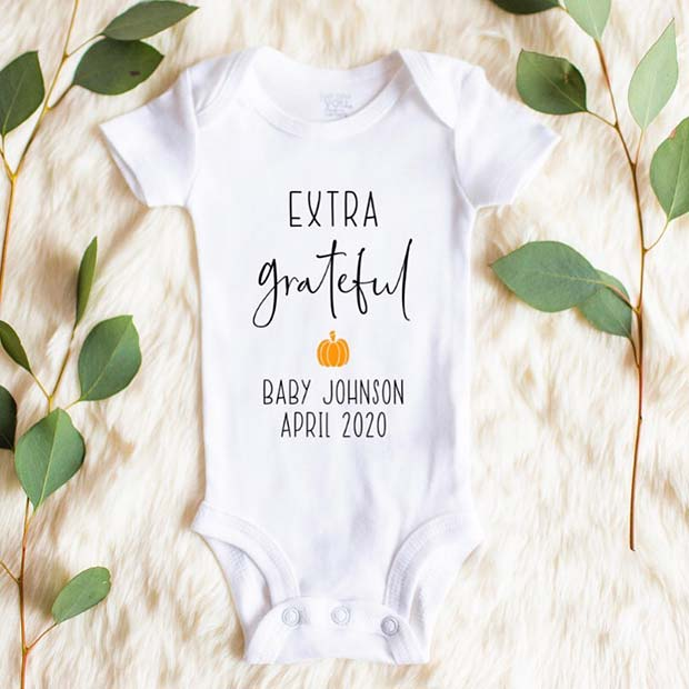 Extra Grateful Romper for Photo Announcement