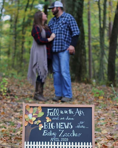 Fall Inspired Pregnancy Announcement with Parents-to-Be