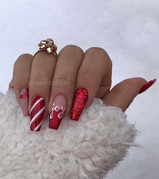 69 Easy Winter and Christmas Nail Ideas
