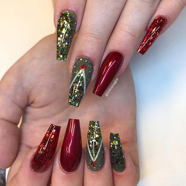 Festive and Sparkly Nail Design