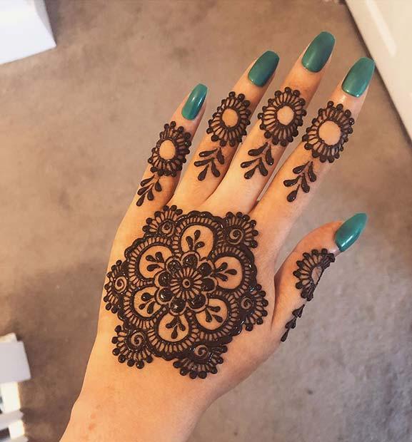 Floral Henna Tattoo Design Idea