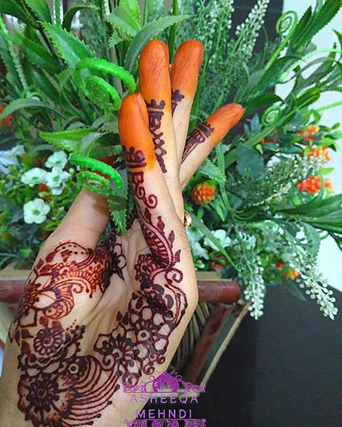 Floral Henna with a Pop of Color