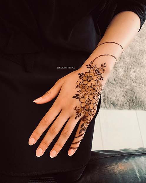 Floral Hand Mehndi Idea