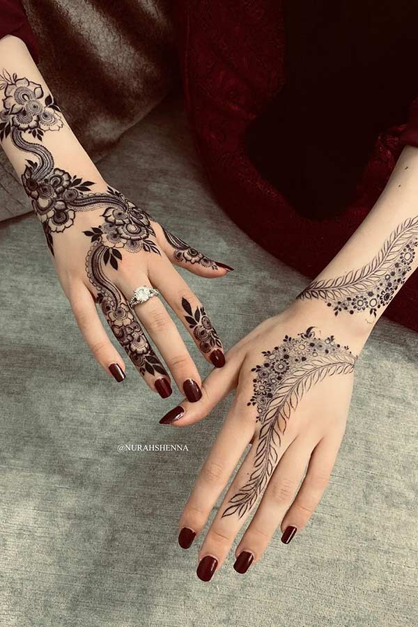 Floral and Botanical Henna Hand Design