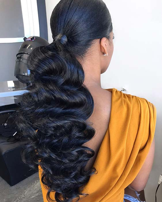 Glam Low Ponytail with Curls