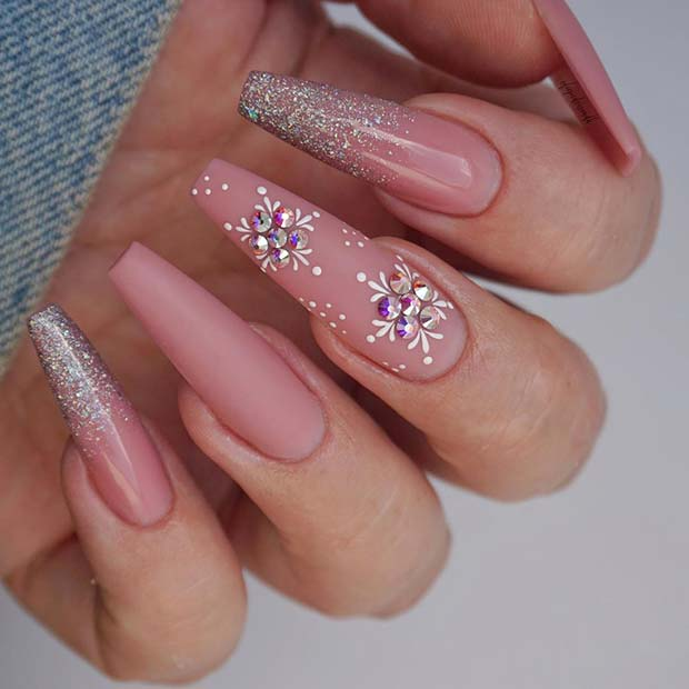 Winter Nail Design for Coffin Nails