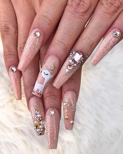 Glitzy Nails with Reindeer Nail Art