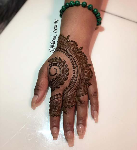 Half Circle Henna Hand Tattoo