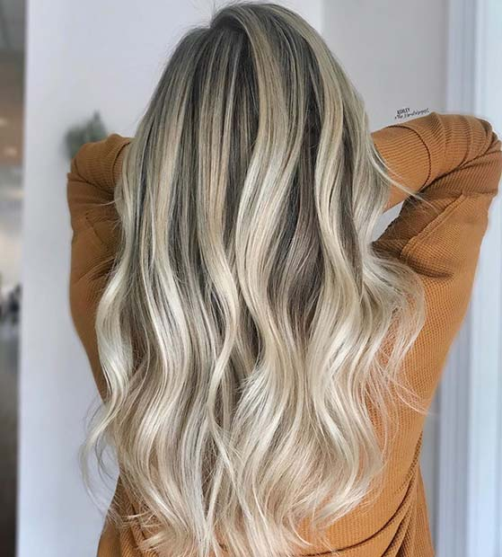 Icy Blonde Highlights for Brunettes