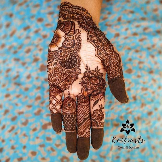 Floral Henna Hand Design
