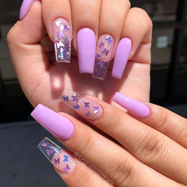 Clear Butterfly Nail Design