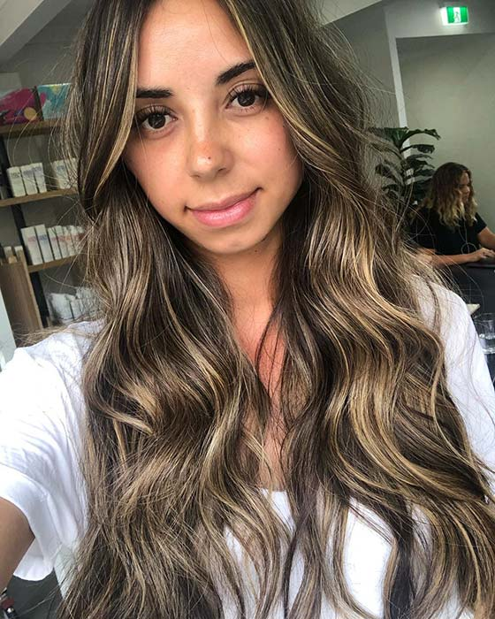 Long Brown Hair with Thin Blonde Highlights