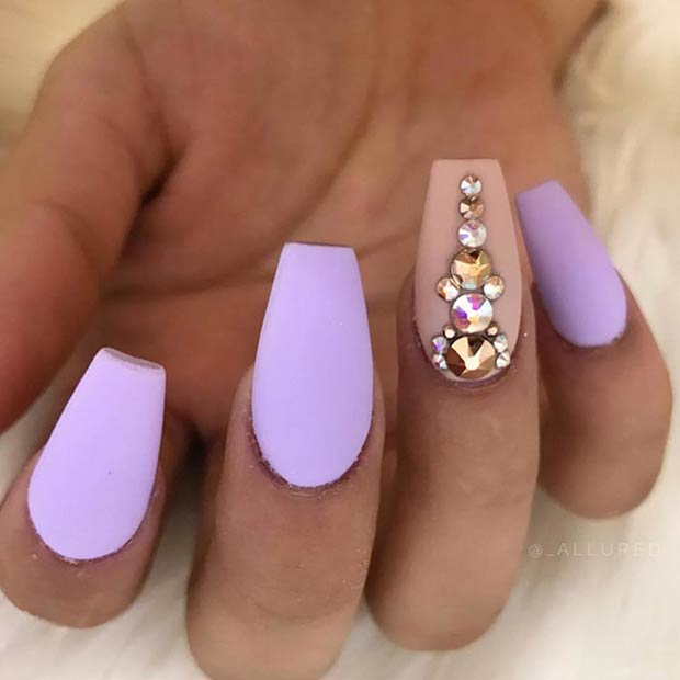 Matte Pastel Purple Nails