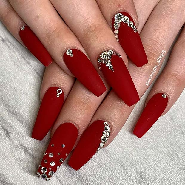 Matte Red Nails with Rhinestones