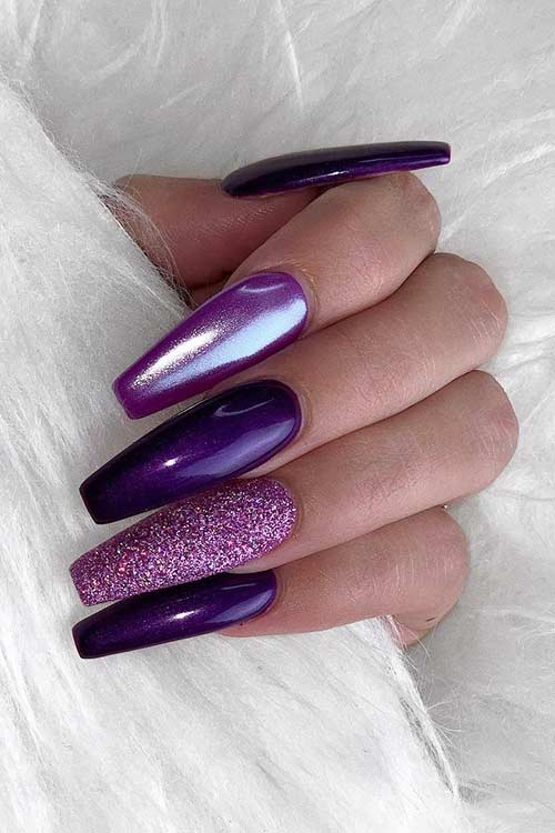 Multi Tone Purple Coffin Nails