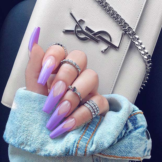 Nude Nails with Purple V Tips