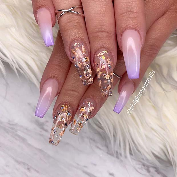 Clear Nails with Gold Foil