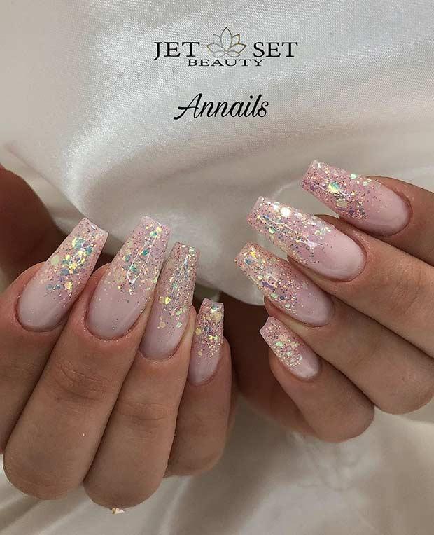 Elegant Glitter Ombre Nails