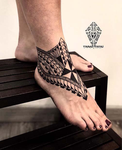 Ornate Ankle Tattoo Idea