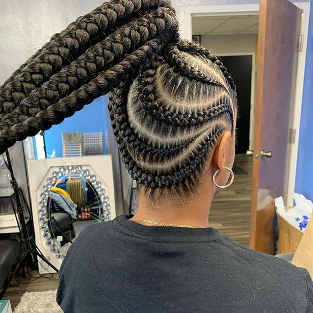 Ponytail with Wave Braided Pattern